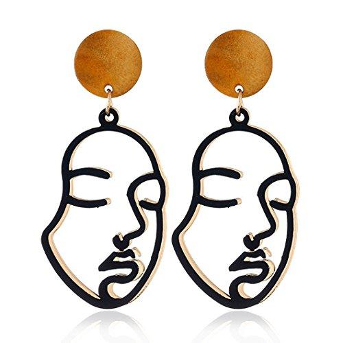 Clearance! Elogoog Retro Art Abstract Design Cutout Face Dangle Drop Earrings Ladies Long Hollow Studs Jewelry (Black)