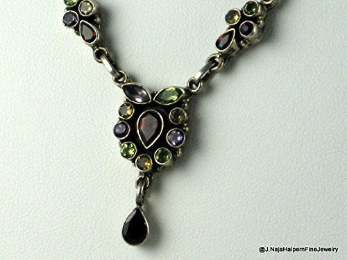 Amethyst Goddess Pendant - Amethyst Garnet Citrine Small Gemstones Pendant Sterling Silver 925 tiny Garnet Beads Necklace 17''