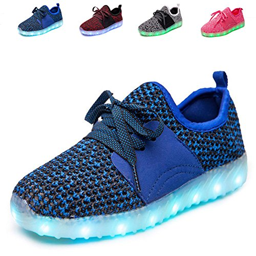 Price comparison product image ANCLEAR Men's and Women's High-Top LED Light Up Shoes USB Charging Flashing Sneakers,TZ,0027,BU,32