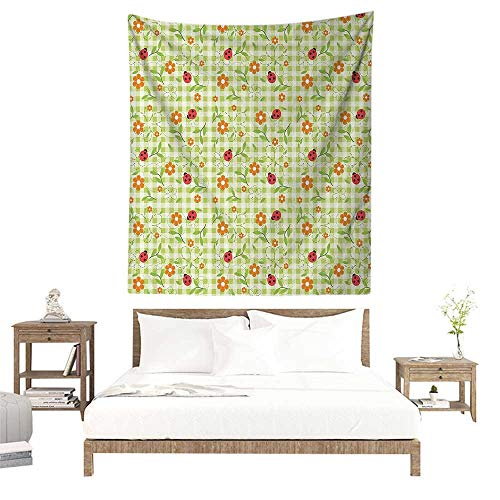 alisoso Wall Tapestries Hippie,Floral,Flowers Ladybugs Leaves on Summer Striped Background Baby Cute Motif,Red Orange Lime Green W32 x L32 inch Tapestry Wallpaper Home Decor