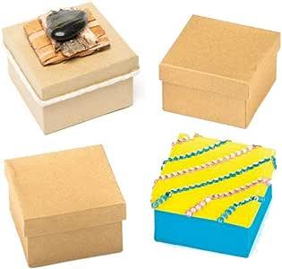 Baker Ross Decora tu Propia Caja de artesanía, para Que los niños pinten, decoren y personalizen Actividades de Arte y Manualidades (Paquete de 6), Papel, Marrón, 75mm x 75mm, 6 Pack: Amazon.es:
