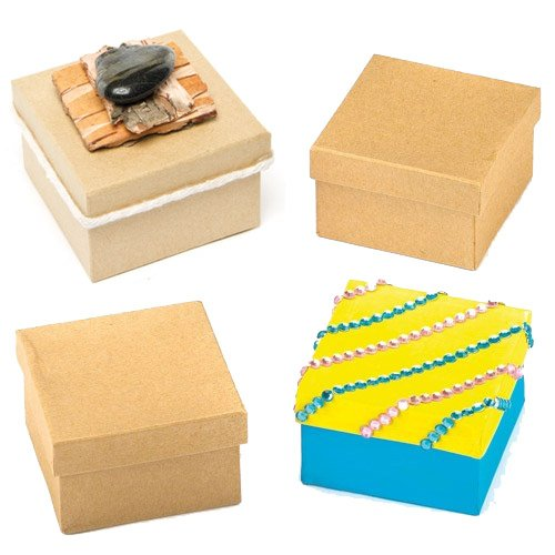 Baker Ross Square Craft Boxes for Children (Pack of 6) Decorate for Mother's Day -