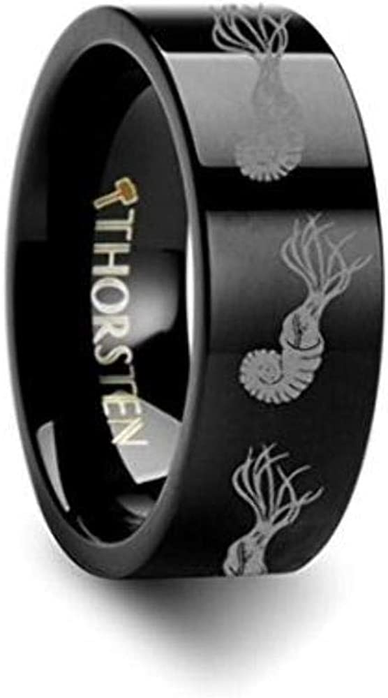 Thorsten Dinosaur Rings Ammonite Prehistoric Paleo Inside Engraved Flat Black Tungsten Ring 4mm Wide Wedding Band with Custom Inside Engraved Personalized from Roy Rose Jewelry