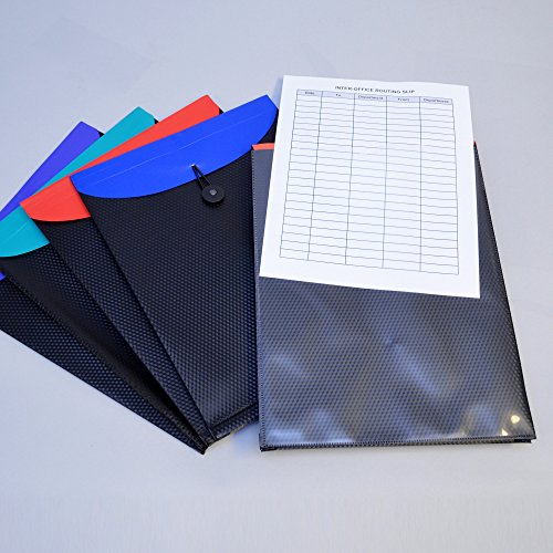 Ultimate Office DuoColor Poly Top-Load Project Pocket Routing Envelopes with Easy Bungee Closure, Available in Frost or Black with Assorted Color Flaps (Set of 5) ()