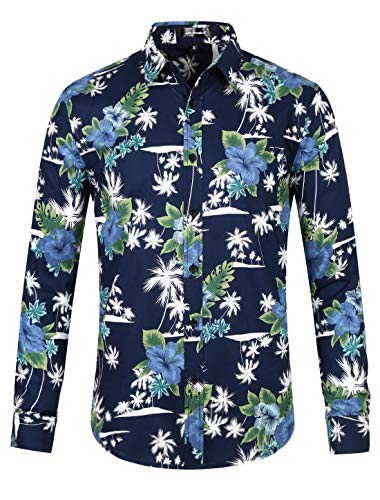 Lars Amadeus Men Floral Button Down Long Sleeve Hawaiian Flower Printed Shirt Navy Blue XL