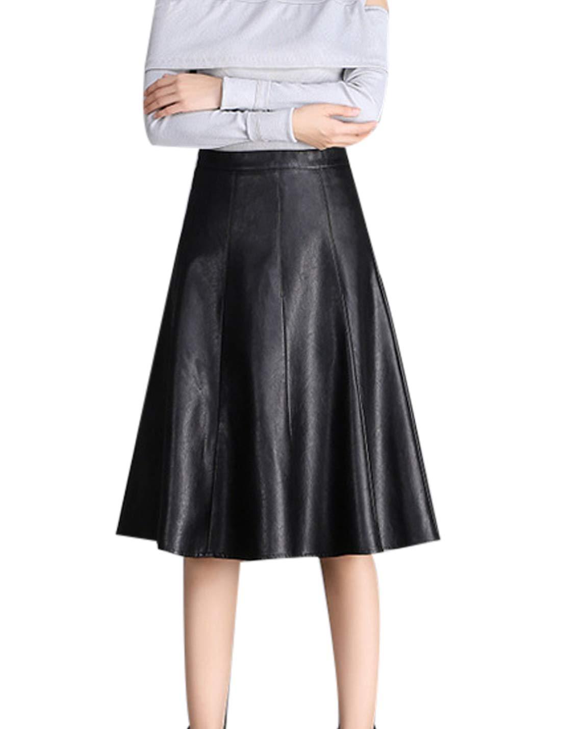 Jenkoon Women's PU Faux Leather Flared High Waist A-Line Swing Skater Skirt (Black, Medium)