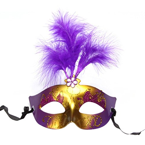 1X Charming Sexy Adult Feather Plastic Mask Lovely and luminous feather mask (Purple) (V For Vendetta Mask Deluxe)