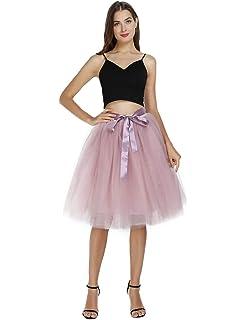 M Sz S New Womens Skirt Tulle Black Lined Midi Knee-length Evening Prom Mesh