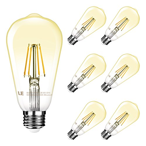 4w White Led (LE Vintage Dimmable Edison LED Bulbs, 4W ST64 Antique Squirrel Cage Filament LED Light Bulbs, 40W Incandescent Equivalent, 350 lm, 2500K Warm White, 300° Beam Angle, E26 Base Bulbs, Pack of 6)