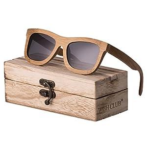 WISH CLUB Bamboo Wood Frame Lightweight Sunglasses Polarized UV 400 Retro Floating Square Mirrored Lenses Fashion Glasses (Gray)