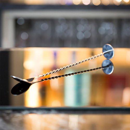 Rink Drink Barlöffel mit gedrehtem Griff - Edelstahl - 28 cm lang