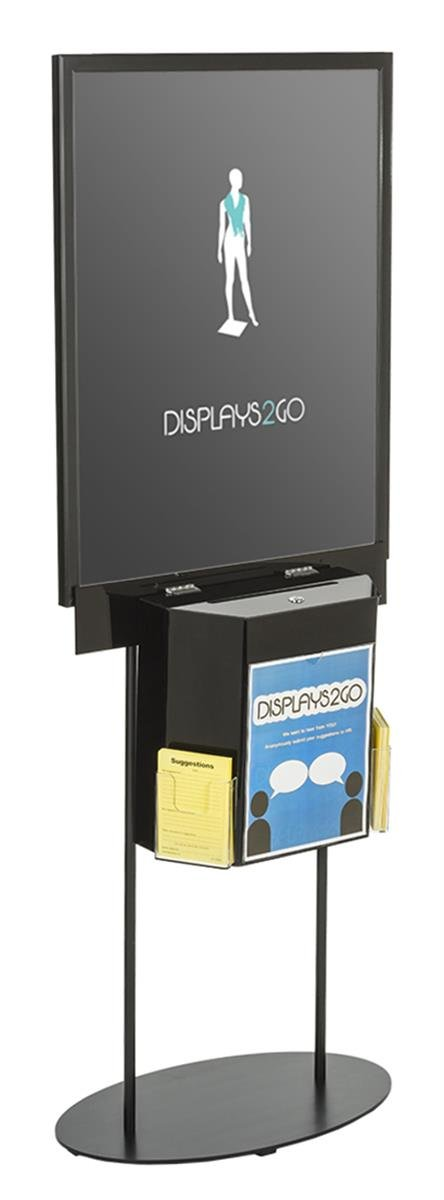 Displays2go LSBST2BKBK Double Sided Poster Stand with Locking Ballot Box, Floor Standing, Black