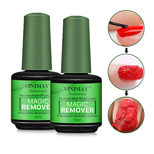 2 Pcs Magic Nail Polish Remover, Professional Easily & Quickly Removes Soak-Off Gel Polish In 3-5 Minutes, Don't Hurt Your Nails,15ml (Best Polish Remover For Gel Nails)