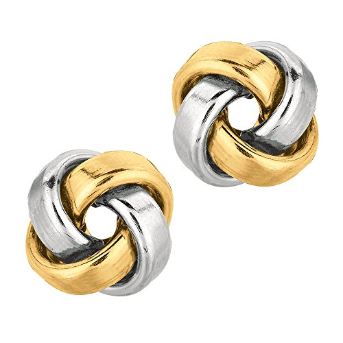 14k Gold Shiny Square Tube Love Knot Stud Earrings, 10mm by JewelryAffairs (Image #5)