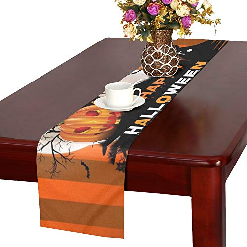 Halloween Pumpkin Moon Design On Table Runner, Kitchen Dining Table Runner 16 X 72 Inch for Dinner Parties, Events, Decor]()