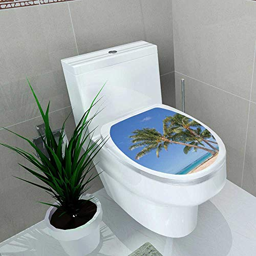 Vanfan Decal Wall Art Decor Isolated Waikiki Beach a Grove Coconut Palm Trees Bathroom Creative Toilet Cover Stickers W6 x L8