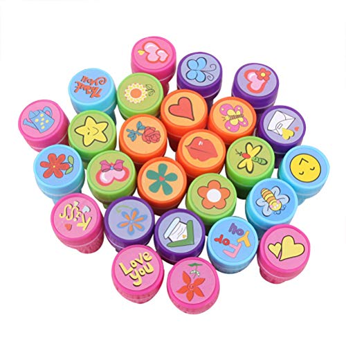 Toyvian Cartoon Seal Stamper Toy | 24 Pieces Flower Insect Pattern for Kid Party Favor - Flower Stampers