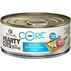 Wellness CORE Hearty Cuts Natural Canned Grain Free Wet Cat Food, Chicken & Tuna, 5.5-Ounce Can (Pack of 24)