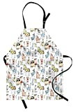 Lunarable Animal Apron, Cute Cow Horse Pigs Chicken Sheep Farmhouse Mascots Kids Nursery Baby Cartoon Print, Unisex Kitchen Bib Apron with Adjustable Neck for Cooking Baking Gardening, Multicolor