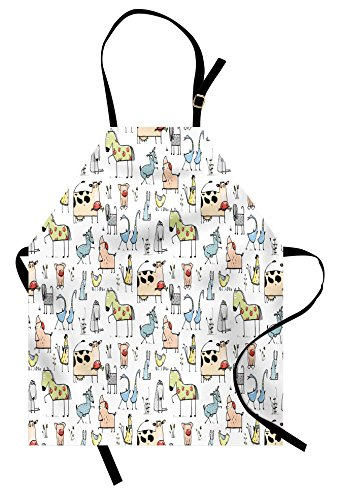 Horse Apron (Lunarable Animal Apron, Cute Cow Horse Pigs Chicken Sheep Farmhouse Mascots Kids Nursery Baby Cartoon Print, Unisex Kitchen Bib Apron with Adjustable Neck for Cooking Baking Gardening, Multicolor)