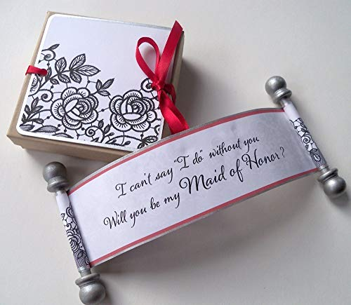(Maid of Honor invitation, miniature scroll with box and decorative tag, black silver and red)