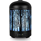 Essential Oil Diffuser, Cavir 100ML Metal Forest Diffusers for Essential Oils, Waterless Auto Shut-Off and 7 Color LED Lights Changing for Home Office Baby