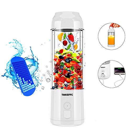 Portable Juicer Cup USB Battery Operated Blender - Six Blades in 3D, 16 oz, 4000mAh Rechargeable Battery Power Bank, 480ml Fruit Mixing Machine with Ice Tray FDA BPA Free (White)