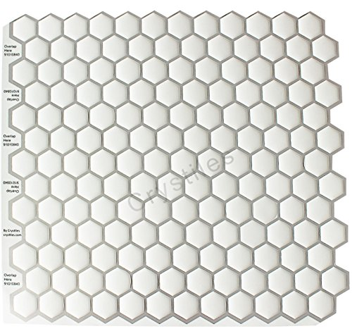 """Crystiles Peel and Stick Self-Adhesive DIY Backsplash Stick-on Vinyl Wall Tiles for Kitchen and Bathroom Décor Projects, Hexagon White, Item# 91010840, 10"""" X 10"""" Each, 6 Sheets Pack"""