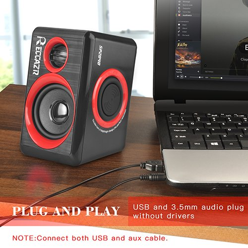 Surround Computer Speakers With Deep Bass USB Wired Powered Multimedia Speaker for PC/Laptops/Smart Phone RECCAZR Built-in Four Loudspeaker Diaphragm by RECCAZR (Image #4)'
