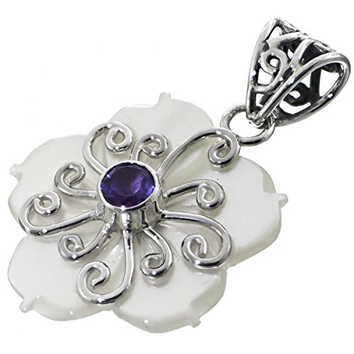 Flower Mother Of Pearl Shell Amethyst 925 Sterling Silver Pendant, 1 1/2