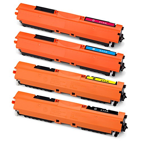 Office World Compatible Toner Cartridge Replacement for 126A CE310A (1 Black, 1 Cyan, 1 Magenta, 1 Yellow),Compatible with LaserJet 100 color MFP M175nw LaserJet CP1025nw LaserJet M275 (126a Laser Toner Cartridge)