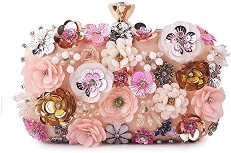 LKJASDHL 女性のバッグ手作り刺繍ビーズステレオ花ディナーバッグチェーンハンドルレディバッグチェーンスモールスクエアバッグバンケットハンドバッグカジュアルフォーマルな日常のバッグ (色 : AS PHOTO)