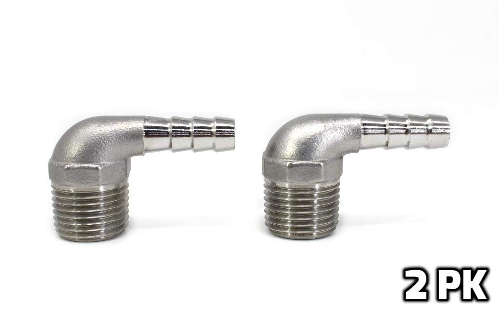 Concord 304 Stainless Steel Barbed Elbow Hose 3/8'' Barb Hose to 1/2'' NPT Male. Home Brew Fitting (2 Pack)
