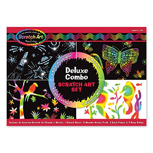 Melissa Doug Scratch Art Deluxe Combo Set Arts Crafts Hides Colors Patterns Easy To Use Supplies For 16 Projects Great Gift For Girls And