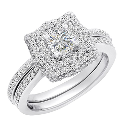 IGI Certified 14K White Gold Halo Style Diamond Engagement Ring Bridal Set ( sizes 5-8) 1 1/8ct tw sz 6