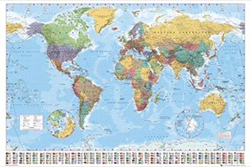 World Map 2015 Giant Poster 55 inch x 39 inch