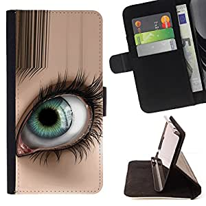 Abstract Eye - Painting Art Smile Face Style Design PU Leather Flip Stand Case Cover FOR Samsung Galaxy S4 IV I9500 @ The Smurfs