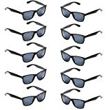 Oaonnea 10 Packs UV Protection Neon Colors 80's Retro Classic Party Favors Sunglasses (Black)