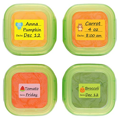 Baby Food Labels, Removable Write-On Date Labels for Food Storage Containers & Baby Bottles, Great for Daycare, Pack of 90]()
