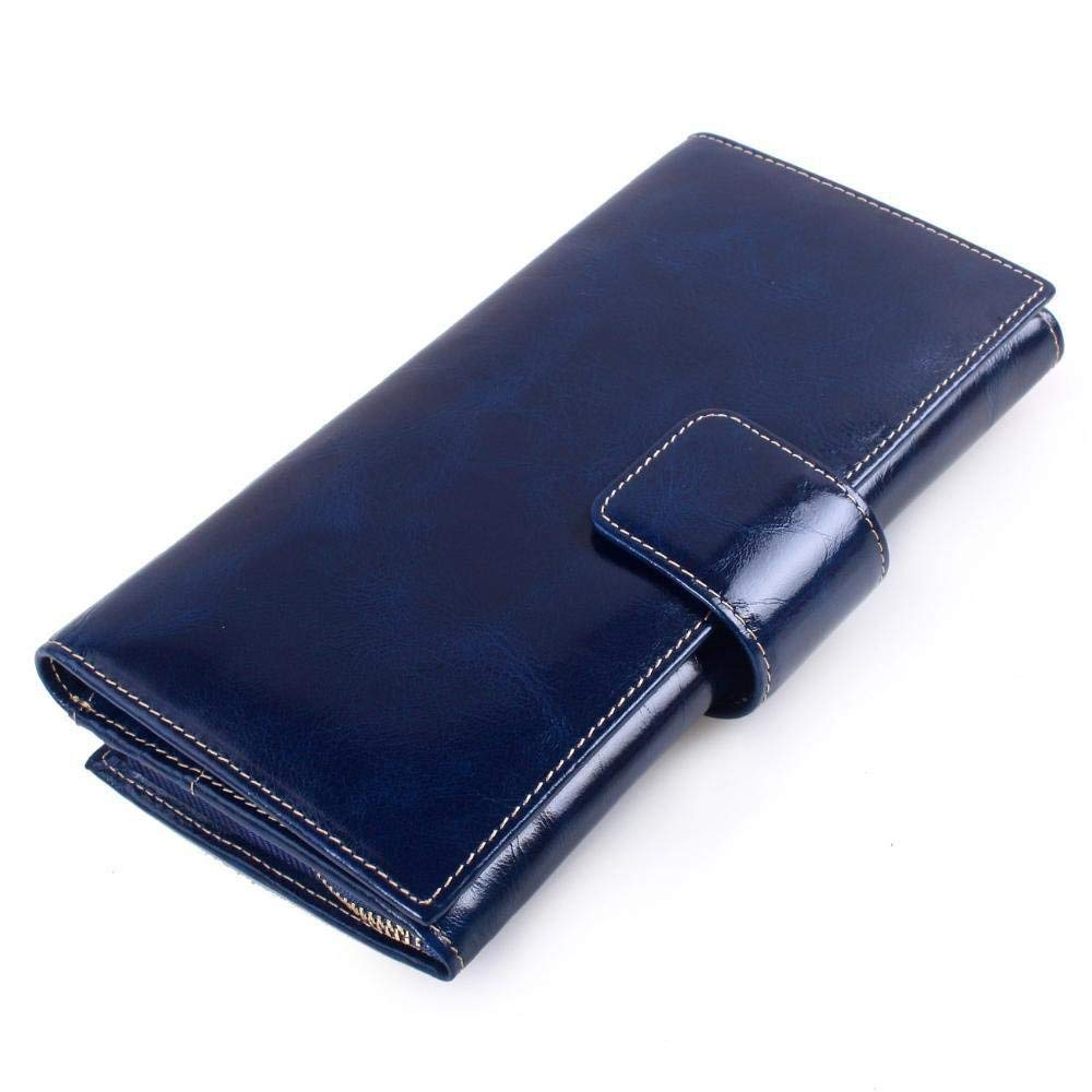 bluee Cross Large Leather Wallet Head Layer Cowhide Oil Wax Leather Lady Purse Hand Bag MultiCard Business Wallet for Work (color   bluee)