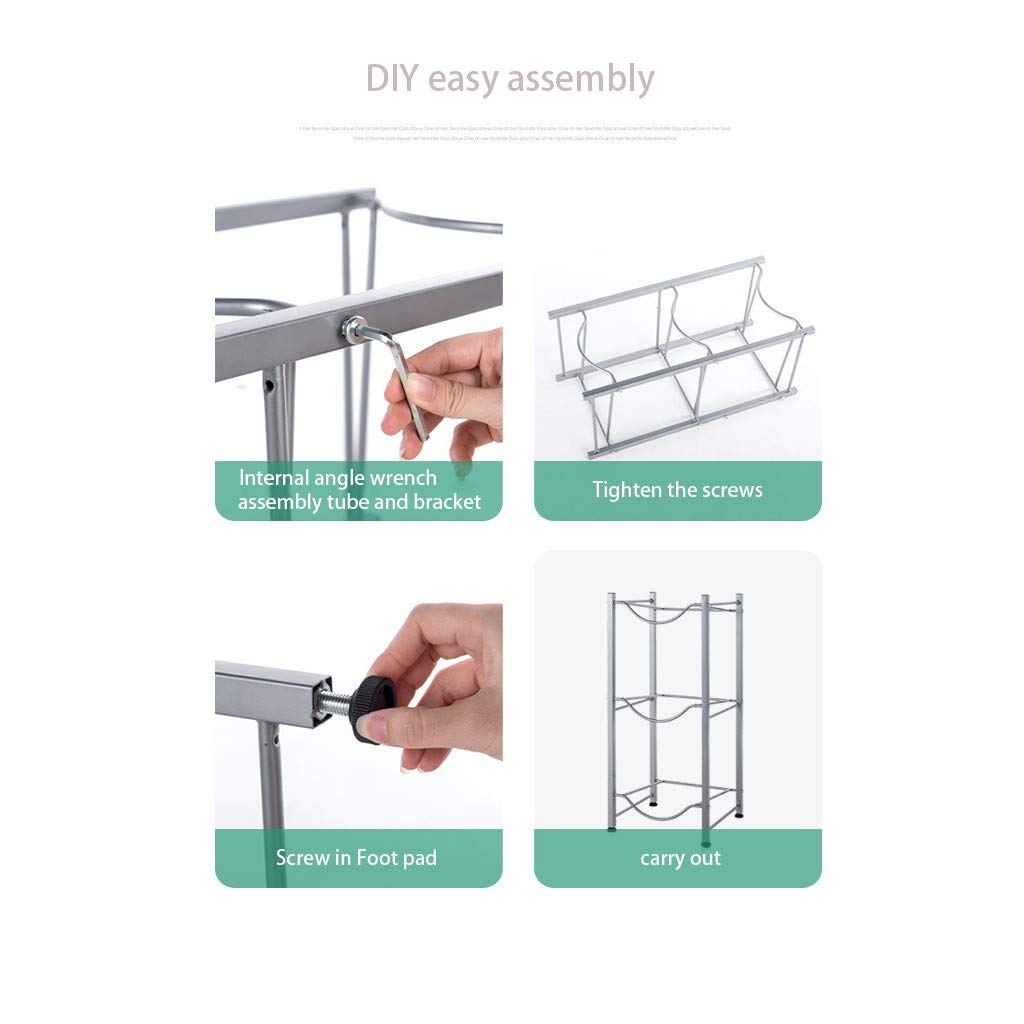 Gray Water Cooler Jug Rack Easy to Assemble for Home Office Detachable Heavy Duty Water Bottle Holder for 5 Gallon Jugs 3-Tier Water Bottle Storage Rack