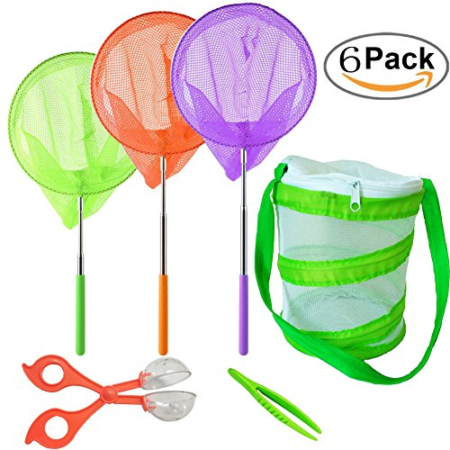 (HomDSim Telescopic Butterfly Net Kit,Foldable Portable Habitat Mesh Cage,Catcher Tweezers,for Catching Bugs Insect Fishing,Extendable up to 34'' for Kids Patio Outdoor Travel Activities)