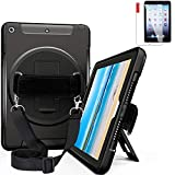 NEWQIANG iPad Air (Air 1) Heavy Duty Full-Body Rugged Case with Screen Protector - Hand Strap - Shoulder Strap - Hardback - 360 Rotatable Kickstand - Shockproof - A1474 A1475 MD785LL A (Black)