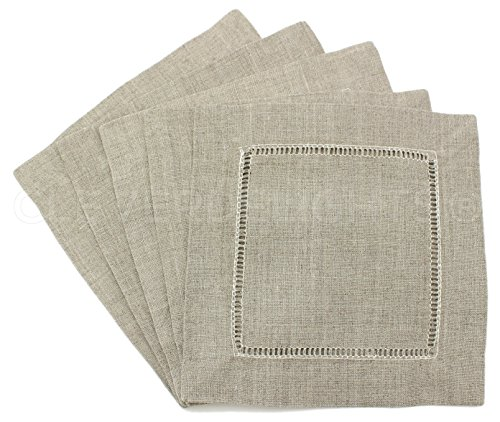 CleverDelights 12 Natural Linen Hemstitch Cocktail Napkins - 6