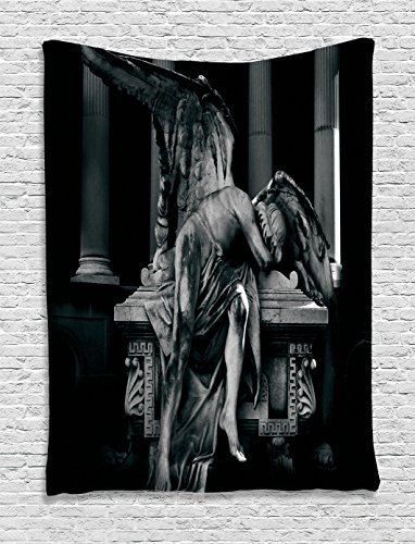 Ambesonne Sculptures Decor Collection, Angel Architecture Monuments Sadness - Greek Themed Party