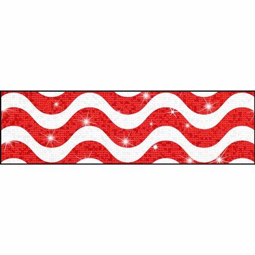 Trend Enterprises Inc Wavy Red Sparkle Plus Bolder Borders, 32.5' - Trimmer Red Sparkle