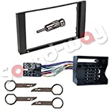Double-DIN Car Radio Frame Mounting Kit with ISO Adapter for Ford Galaxy, Fiesta, Focus, C-MAX, S-MAX or Transit