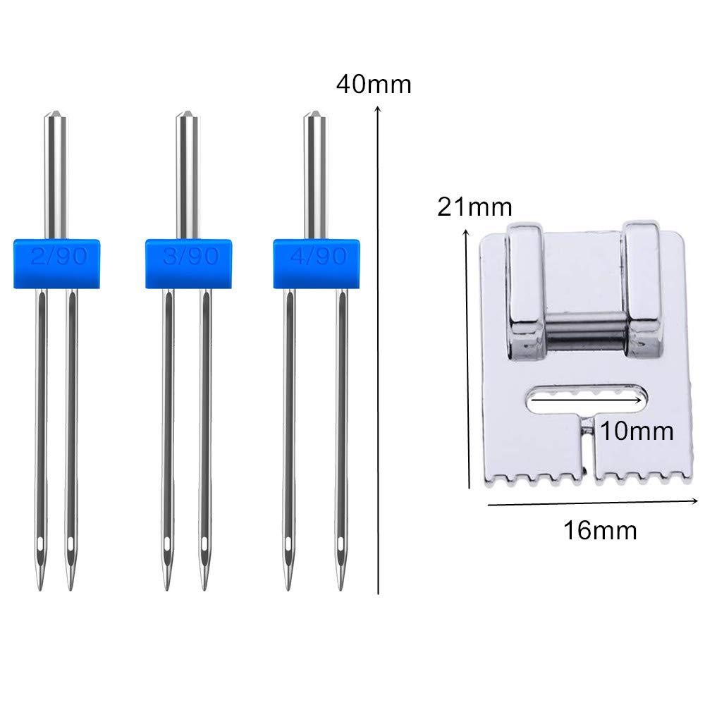 3 misure miste 2.0//90 12 pezzi doppi aghi con 1 piedino a 9 scanalature per macchina da cucire domestica 3.0//90 4.0//90