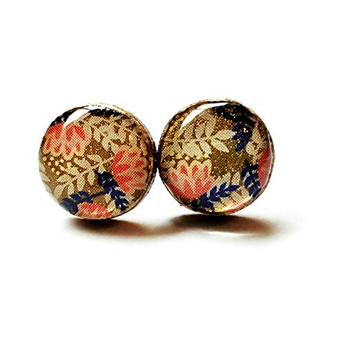 Sparkly gold with coral and navy floral print wood stud earrings, 10mm ()