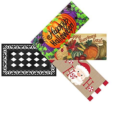 Evergreen Flag Holiday Decorative Sassafras Mat Insert and Tray Set (Halloween/Thanksgiving/Christmas) -